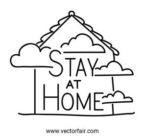 Stay at home text house and clouds vector design