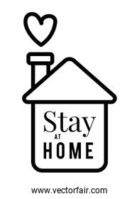 Stay at home text and house with heart vector design