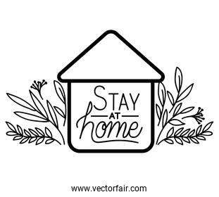 Stay at home text house and leaves vector design