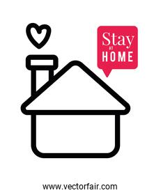 Stay at home text and house with heart and bubble vector design