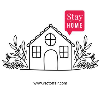 Stay at home text house bubble and leaves vector design