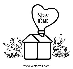 Stay at home text and house with heart and leaves vector design
