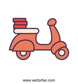 Pizza boxes over motorcycle line and fill style icon vector design