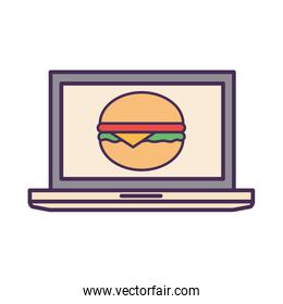 hamburger inside laptop line and fill style icon vector design