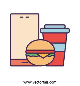 smartphone hamburger and mug line and fill style icon vector design
