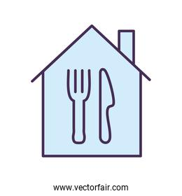 Cutlery inside house line and fill style icon vector design