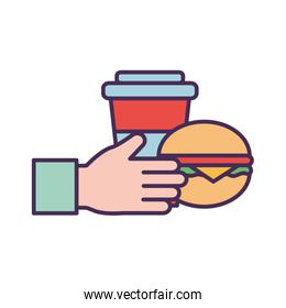 Hand with mug and hamburger line and fill style icon vector design