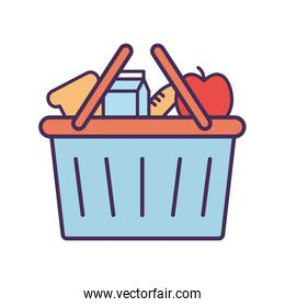 Milk box apple and bread inside basket line and fill style icon vector design