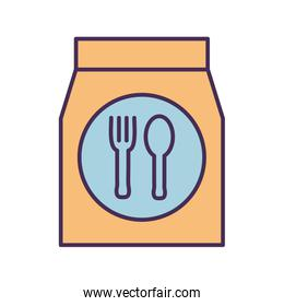 Cutlery inside bag line and fill style icon vector design