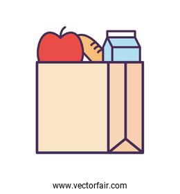 Milk box apple and bread inside bag line and fill style icon vector design