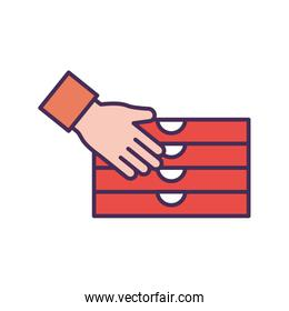 Hand with pizza boxes line and fill style icon vector design