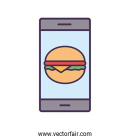 smartphone and hamburger line and fill style icon vector design