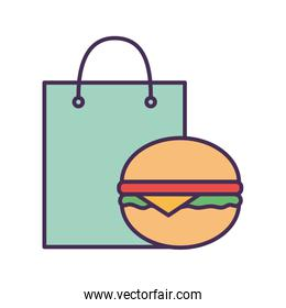 Shopping bag and hamburger line and fill style icon vector design