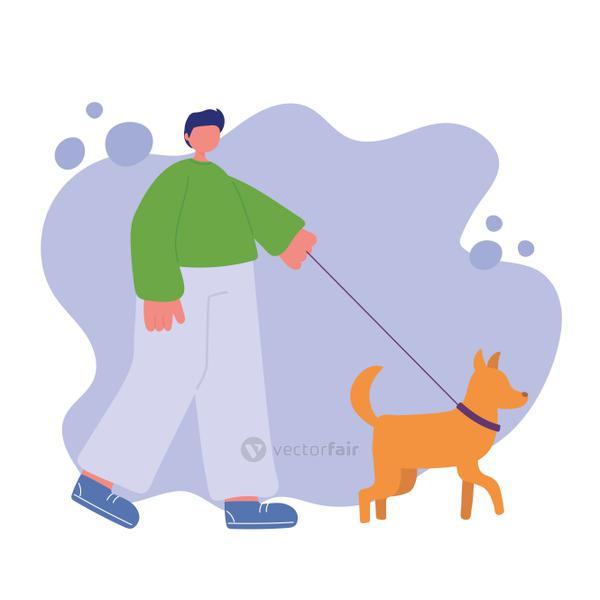 young man is walking with dog on a leash