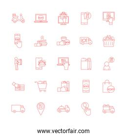 Food delivery line style icon set vector design