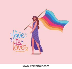 girl with costume lgtbi flag and love is love vector design