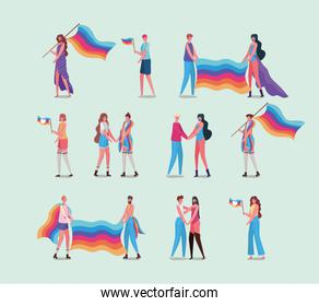 girls and boys with costumes and lgtbi flag vector design