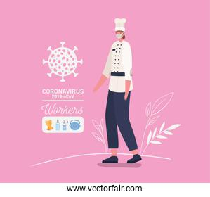 Chef woman avatar with medical mask and uniform vector design