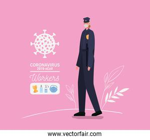 Policewoman avatar with medical mask and uniform vector design