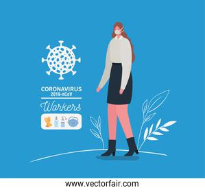 Businesswoman avatar with medical mask vector design