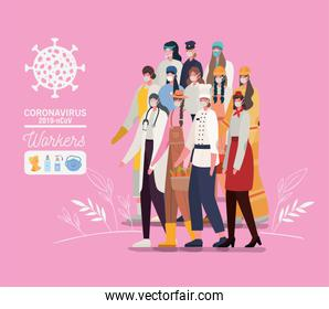 Women avatars with medical masks and uniforms vector design