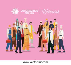 Women and men avatars with medical masks and uniforms vector design
