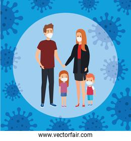 parents with children using face mask and particles covid 19