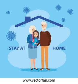 stay at home campaign with grandparents and daughter