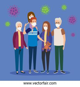 cute group family using face mask with particles covid 19