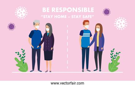 stay at home campaign with couples using face mask