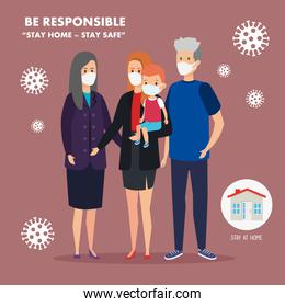 stay at home campaign with cute family using face mask