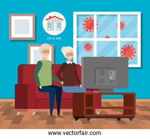 stay at home campaign with old couple watching tv