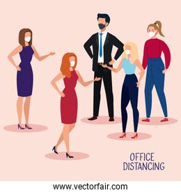 campaign of social distancing at office for covid 19 with business people