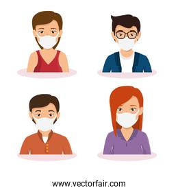 group of business people using face mask