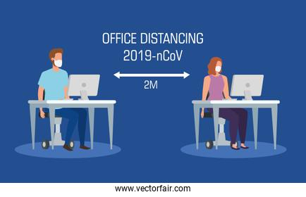 campaign of social distancing at office for covid 19 with business couple