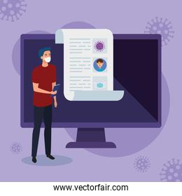 man searching 2019 ncov information online in computer
