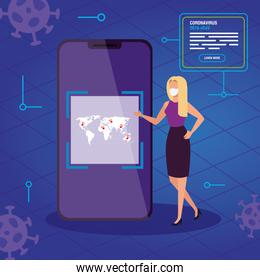 businesswoman searching 2019 ncov information online in smartphone