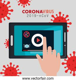 searching 2019 ncov information online in tablet device