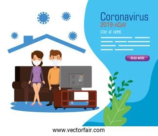 stay at home campaign with couple watching tv