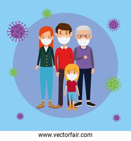 family members using face mask with particles 2019 ncov