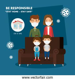 stay at home campaign with parents and children