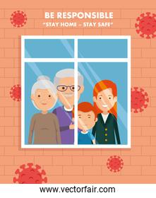 stay at home campaign with family in window