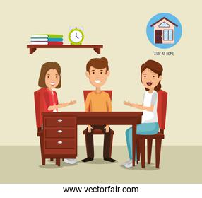 stay at home campaign with people in wooden table