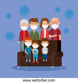cute family using face mask with couch and particles 2019 ncov