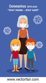 stay at home campaign with grandmother and children