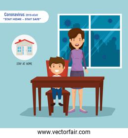 stay at home campaign with mother and son