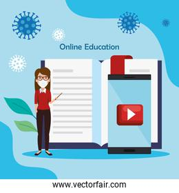 teacher female of education online using face mask and icons