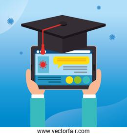 online education graduation with tablet device