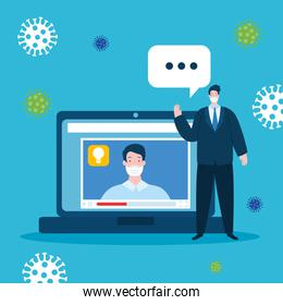education online technology with men and icons