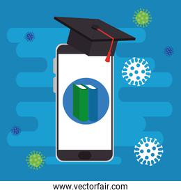 online education graduation for smartphone with particles 2019 ncov